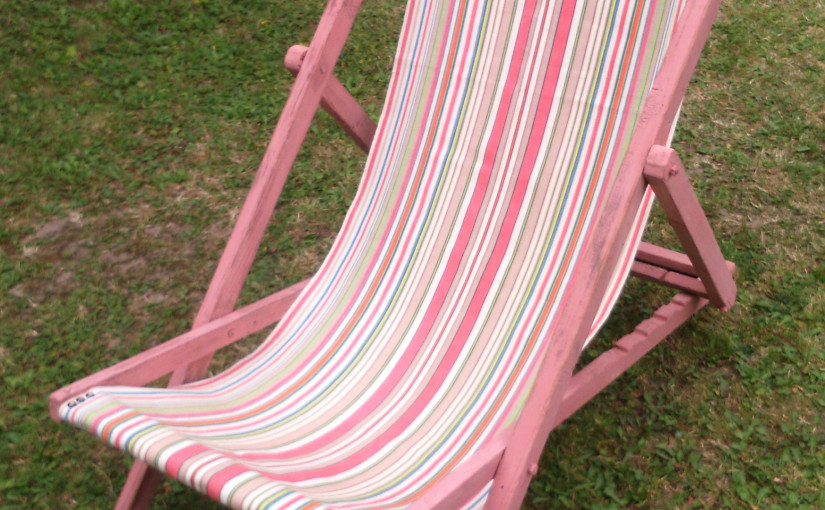 vintage deckchair canvas on painted deckchair