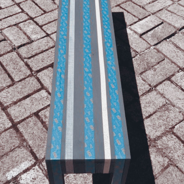striped bench