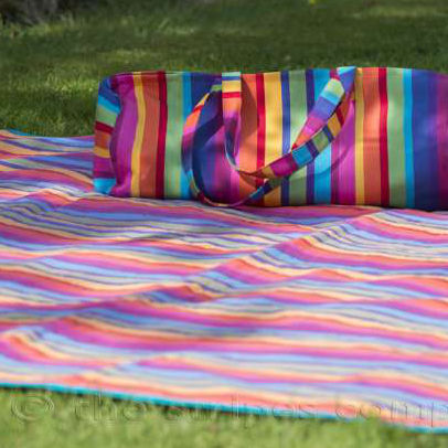 striped picnic mat and bag