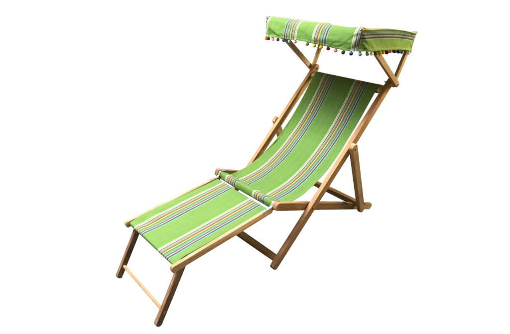 green old style deck chair