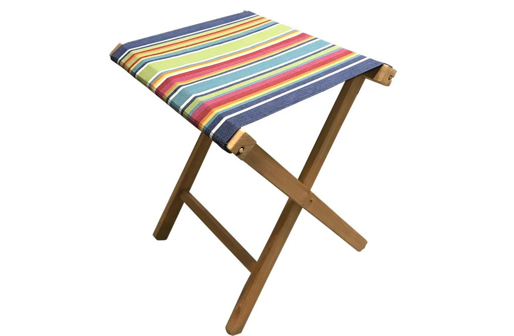 striped folding wooden stools